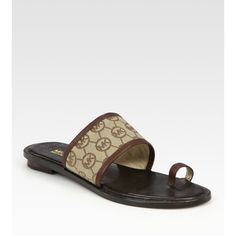 MICHAEL MICHAEL KORS Monogram Canvas & Leather Toe-Ring Sandals found on Polyvore