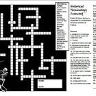 A tidy crossword puzzle for historical terminology.  Terminology included: Anno Domini artefact Before Christ bias census century chronology Common...
