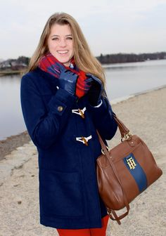 Topshop navy leather mixed media gloves on The Sol Compass