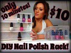 Super simple Nail Polish Rack using a cutlery organizer!   #nailpolishrack, #polishstorage, #nail polish
