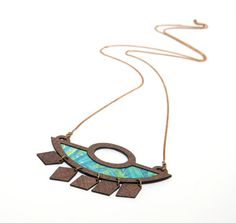 Blue Necklace, Geometric Necklace, Triangle Necklace, Laser Cut Wood, Geometric Jewellery, Triangle Jewellery, Brass Jewellery, Gift for her