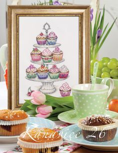 My cupcakes cross-stitch design, for Turkish magazine 'Kanavice'.