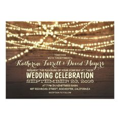 Barn wood string lights rustic wedding invitations x invitation card Rehearsal Dinner Themes, Country Rehearsal Dinners, Rehearsal Dinner Invitations, Barn Wedding Invitations, Engagement Party Invitations, Rustic Invitations, Invites, Rustic Save The Dates, Wedding In The Woods