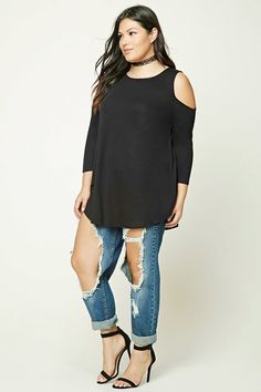 Forever 21+ - A knit tunic featuring an open-shoulder design, round neckline, 3/4 sleeves, and a curved hem.