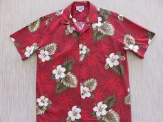 Vintage 70s HAWAIIAN Button-Down Pocket Shirt LARGE aloha vacation island hibiscus lei 1970s dad shirt acrylic L surf palm tropical orange