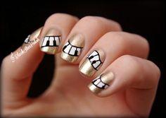 Piano mani with Catrice - Goldfinger :) Music Nail Art, Music Nails, Piano Nails, Hair And Nails, My Nails, Nail Polish Art, Nude Nails, Nail Artist, Summer Nails