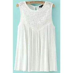 White Crochet Lace Splicing Chiffon Tank Top featuring polyvore, fashion, clothing, tops, white, white sleeveless tank top, sleeveless tops, sexy tanks, white tops and white chiffon tank