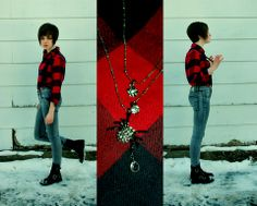Dirty Laundry Boots, Cheap Monday Grey Skinnys, Land's End Buffalo Check Flannel, Black Suspenders, Betsey Johnson Spider Necklace - I'll lo...