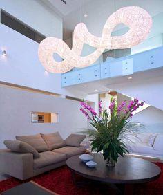 Dramatic Pendant Light Effect - Living Room Interior