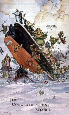 Star Wars VS Titanic The drawing George Lucas has sent to James Cameron pic on Design You Trust