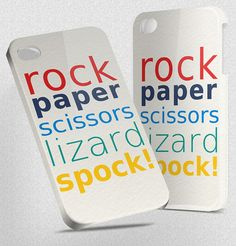 Rock Paper Scissors Lizard Spock - Hard Cover Case iPhone 5 4 4S 3 3GS HTC Samsung Galaxy Motorola Droid Blackberry LG Sony Xperia & more