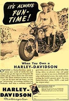 'Harley-Davidson - It's Always Fun Time! - 1947' - Fantastic A4 Glossy Print Taken From A Vintage Motorcyle Ad by Design Artist http://www.amazon.co.uk/dp/B019H5GPE8/ref=cm_sw_r_pi_dp_arSCwb1JMQ29D