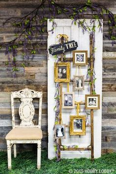 Something old, something new! Creatively display family photos at your wedding with a one-of-a-kind family tree. We picked out frames to hang on a rustic-looking ladder for ours! Diy Wedding, Wedding Events, Rustic Wedding, Wedding Reception, Wedding Photos, Wedding Ideas, Party Photos, Elegant Wedding, Wedding Scene