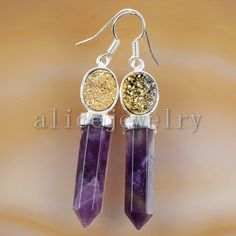 Silver Plated Natural Amethyst Faceted & Oval Shape by Druzyworld