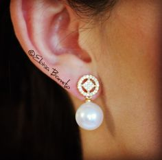 Gold Plated Earrings with Pearls and Zircons by EloisaBarreto on Etsy