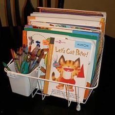 Repurpose dish rack for a kids workstation!