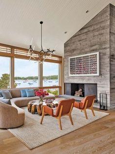 Beautiful curving sofa, Beach Living Room by Leroy Street Studio in Woods Hole, Massachusetts