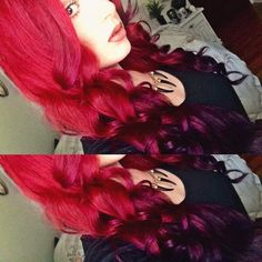 Red to purple ombre