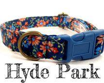 "Blue Floral Dog Collar - Organic Cotton - Antique Brass Hardware - ""Hyde Park"""