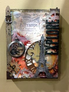 Glue things on that bring back memories! Add layers to build that rustic,old feel to the art work!