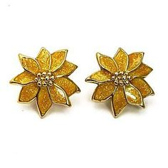 Avon Earrings Yellow Glitter POINSETTIA 1987 Enamel Flower Clip Ons  | eBay Gold Drop Earrings, Feather Earrings, Teardrop Earrings, Flower Earrings, Clip On Earrings, Ring Earrings, Vintage Costume Jewelry, Vintage Costumes, Vintage Jewelry
