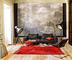 Disfrutar del paisaje - AD España, © Pablo Zamora En el salón de Jaime Lacasa, mural de paisaje de Arcadia comprado en ABC Carpet & Home de Nueva York Foto Pablo Zamora