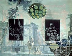 "David Salle (b. 1952, American), ""The Silver"", (1990), Acrylic, oil and two Canvas inserts on Canvas, size: 274 x 366 cm.)."