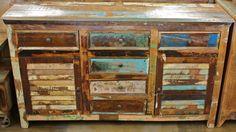 Reclaimed teak rustic shutter door buffet cabinet - $967