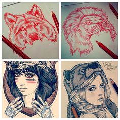 riklee:    I've been inundated with animal hood commissions lately. Here's some sketches from the last few weeks…