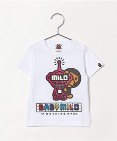 BAPE KIDS(ベイプキッズ)のMILO FUTURE GLOW IN THE DARK TEE (Tシャツ/カットソー) ホワイト×ピンク
