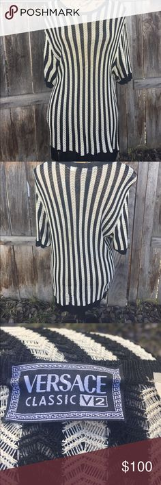 Versace classic vintage top/tunic size large Manaquin is a small for referrence. This is in excellent condition. Beautiful piece. Versace Tops Tunics