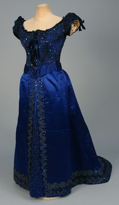 Evening Dress, House of Worth, 1880's, French, Made of satin, tulle, taffeta, and lace