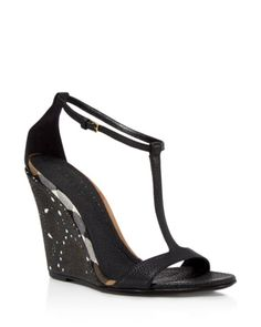 Burberry Hobart Laser-Cut T-Strap Wedge Sandals   I'm sad they don't have my shoe size. :(