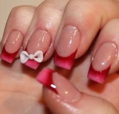 Red French Tip W/Bow❤️