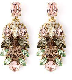 Anton Heunis Pink And Green Crystal Leaf Motif Drop Earrings £140.00