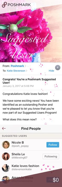 I'm a Suggested User!! I'm officially a Poshmark Suggested User! Accessories