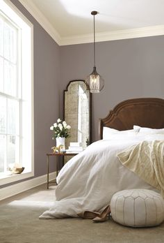 Guest bedroom: Our 2017 Color of the Year, Poised Taupe SW combines earthen brown with conservative gray for a complex neutral that complements both modern and classic styles. Dream Bedroom, Home Bedroom, Bedroom Decor, Taupe Bedroom, Purple Master Bedroom, Dark Wood Bedroom, Bedroom Setup, Pretty Bedroom, Bedroom Curtains