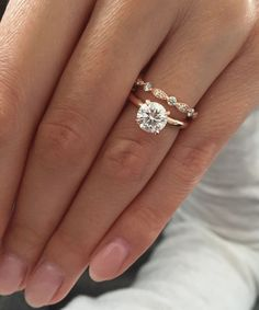 Rose gold solitaire engagement ring with Art Deco wedding band ♥
