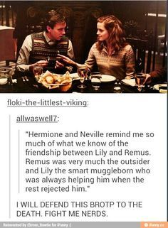 OMG I never noticed this before! Also Neville goes on to be a Professor & marries a Hufflepuff. Hermione a strong muggleborn who grows up to marry a fellow Gryffindor who she at one time disliked! Harry Potter World, Harry Potter Jokes, Harry Potter Fandom, Harry Potter Universal, Hermione Granger, Scorpius And Rose, Fangirl, No Muggles, Yer A Wizard Harry