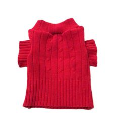 X Small Red Cable Knit Designer Dog Sweater