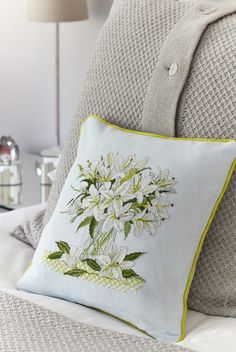 Luscious lilies: Lesley Teare's fresh design is perfect for the new year on page 9 of the new January 244 issue of Cross Stitch Collection: craft.buysubscriptions.com