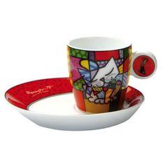 Espresso by Romero Britto Hand Painted Ceramics, Painted Porcelain, Teapots And Cups, Cat Mug, Espresso Cups, Ceramic Painting, Ceramic Pottery, Coffee Shop, Tea Pots