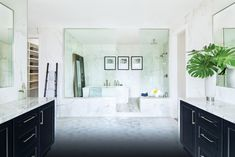 Marble is the ideal choice for your modern wet room for that elegant look.  (Located in McLean, VA) Modern Farmhouse Design, Modern Farmhouse Bathroom, Urban Farmhouse, Modern Interior Design, Herringbone Floor Pattern, Zen Design, Toll Brothers, Bathroom Design Luxury, New Home Communities
