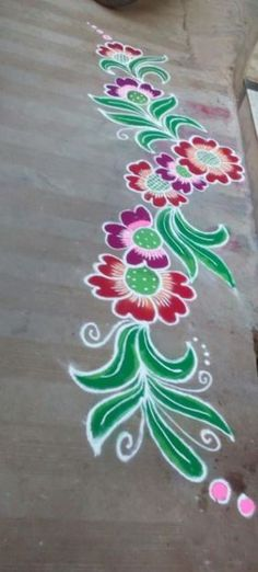 Border rangoli designs are usually made at the entrance of pooja room or the house. People also make border rangoli along the exterior wall of the house. Simple Rangoli Border Designs, Easy Rangoli Designs Diwali, Simple Rangoli Designs Images, Rangoli Designs Latest, Rangoli Borders, Latest Rangoli, Small Rangoli Design, Colorful Rangoli Designs, Rangoli Patterns