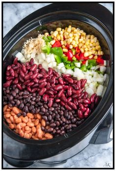 Slow Cooker Three Bean Chili - double the spices and make sure you salt! Slow Cooker Three Bean Chili - A hearty, make ahead vegetarian chili that's delicious any time of year. Skip the garnishes for a tasty vegan dish! Crock Pot Recipes, Crock Pot Cooking, Chili Recipes, Slow Cooker Recipes, Cooking Recipes, Cooking Games, Vegan Slow Cooker, Cooking Classes, Cooking Rice