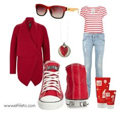 """""""Classic Red - fairtrade, organic, sustainable."""" by ethletic-official on Polyvore featuring Augusta, Kuyichi, Ethletic, women's clothing, women, female, woman, misses, juniors and Ethical"""