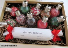 A Bright Idea! Cookie makin' kit....fill each lightbulb with cookie sprinkles..