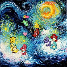"""Care Bear Inspired Art - Fine art print - Starry Night Bedtime Bear - van Gogh Never Played In The Clouds - Art by Aja 8x8, 10x10, 12x12, 20x20, 24x24 inch sizes. Thank you for your interest in my art - ***Please read entire description of item.*** This is a print - it not NOT a painting. It is not on canvas. It is not framed. I do offer canvas options, please see other listings. This stunning print of my original painting entitled """"van Gogh Never Played In The Clouds"""" utilizes all silver..."""