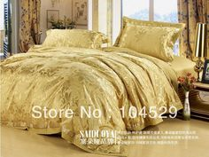 40S Classic European Style silk gold 100% noble luxurious king/queen wedding bedding set / bed sheet /comforter set /duvet cover-in Bedding Sets from Home & Garden on Aliexpress.com