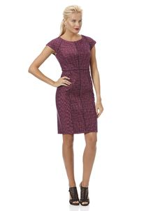 Space Dye Petite Ponte Dress with Faux Leather Seams in petite sizes 0P - 6P. ($225) - The Petite Shop